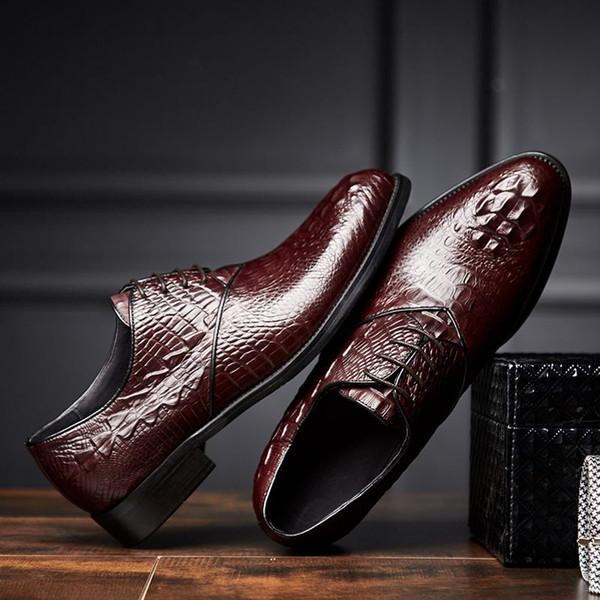 Brand Men Shoes Top Quality Oxfords Italian Style Men Genuine Leather Dress Shoes Business Formal Shoes Men Flats