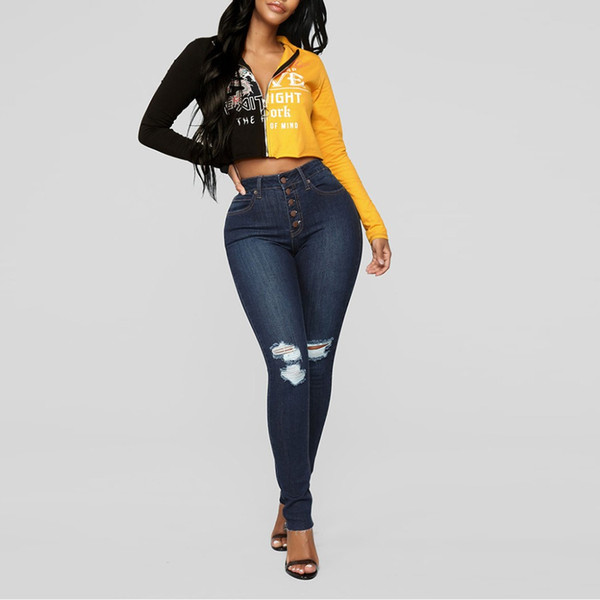 2019 colorblock jeans skinny fashion straight casual women's jeans large sizes high waist s-2xl mujer ing, Blue