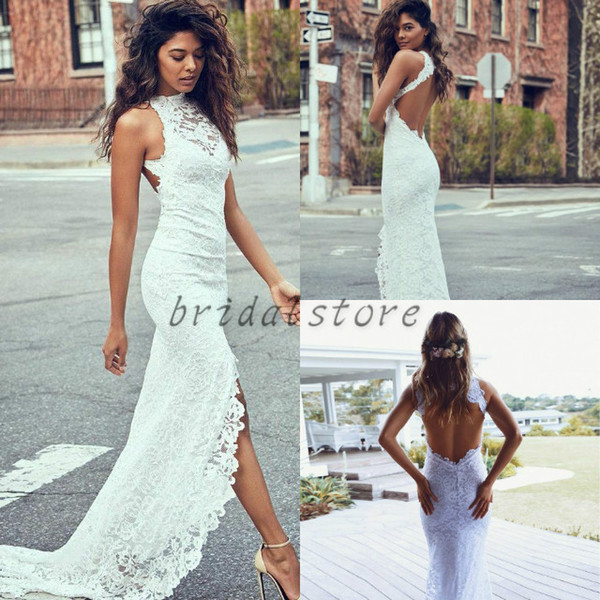 Lace Mermaid Wedding Dresses front Short Back Long Train Summer country Sheath bridal Gowns Sexy Open Back Beach Bohemian wedding gowns slit