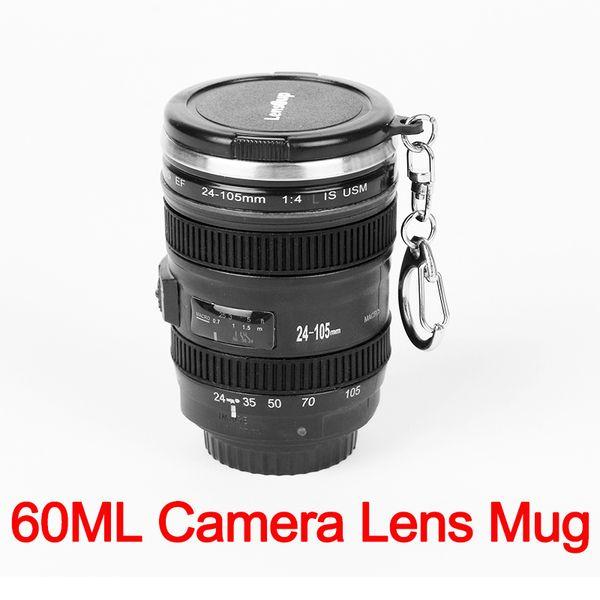 60ml Mini Creative SLR Camera Lens mug 1:1 Scale Plastic Coffee mug Stainless Steel insulation Vodka Camera Lens Portable Cup
