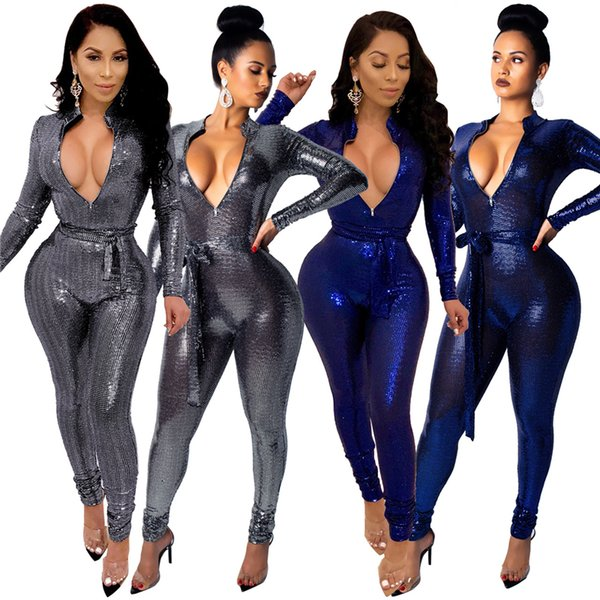 Fashion Sequins Zipper V Neck Bandage Jumpsuit with Belt Women Sexy Long Sleeve Romper Skinny Night Club Party Overalls Outfits