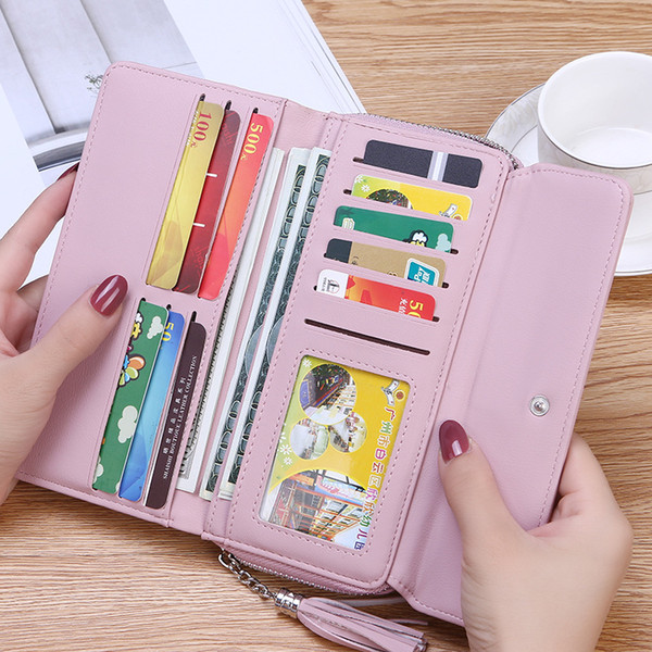 New 2019 Multifunction Envelope Clutch Wallet For Women Female Leather Purse Card Holders Coin Phone Pocket Long Wallets Bolsas