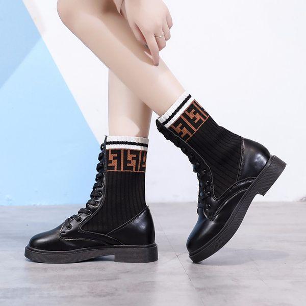 2019 moda clásico cabeza redonda de felpa de alta calidad simple tejer a media pierna mujer botas damas tacones bajos Walking bota feminina