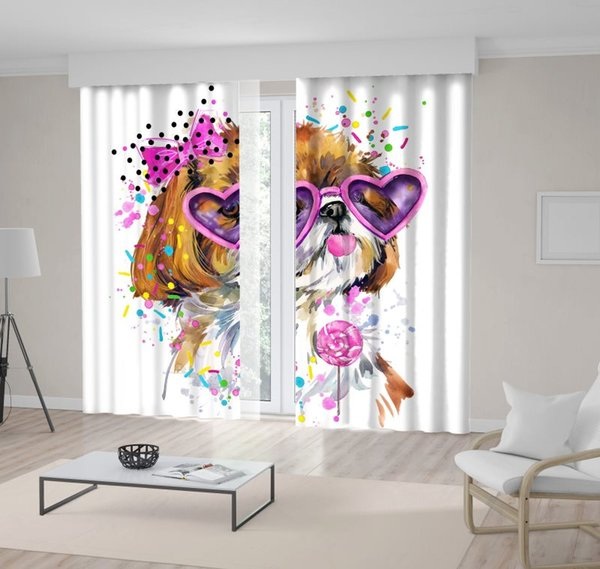 Cute Dog with Heart Shaped Sunglasses Bowknot and Candy Puppy Pet Watercolor Art Pink Brown Curtain