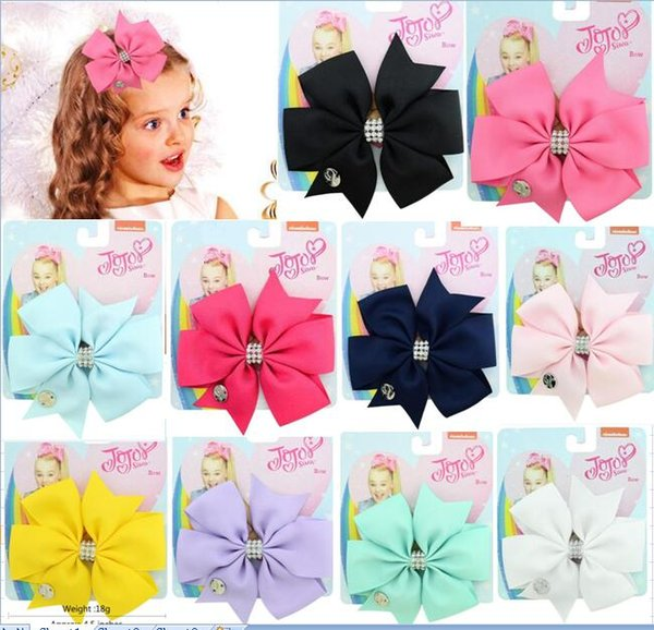 JOJO Hair Bow DIY 4.5 inch Solid Color Grosgrain Ribbon Kids Cheer Bows With Alligator Clip Rhinestone For Kids Girls Cheer Bows 8pcs/