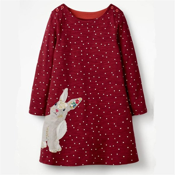 Jumping Meters Appliques Bunny Toddler Dresses Girls Clothing Autumn Baby