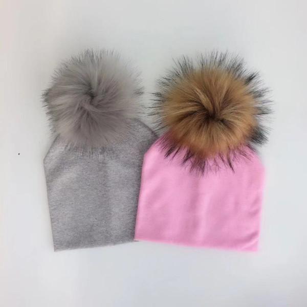 autumn children's infant toddler raccoon faux fur pompom hat cap for Kids baby boys girl cotton newborn props hat beanie