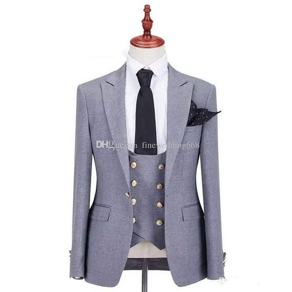 Vendita calda One Button Groomsmen Peak Risvolto dello sposo Smoking da sposa Abiti da uomo Matrimonio / Ballo / Cena Best Man Blazer (Jacket + Tie + Vest + Pants) 292