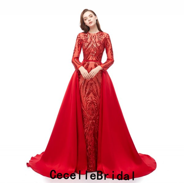 Hot Sell 2019 Red Sequins Mermaid Long Evening Dress With Long Sleeves Detachable Train African Black Girls Evening Party Dress Real Photos