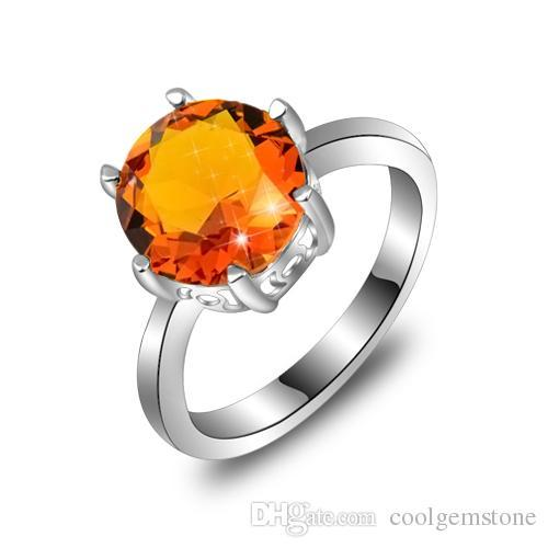 6PCS/LOT Mother Gift Classic Round Brazil Citrine Gemstone Ring 925 Sterling Silver Plated Wedding Ring Jewelry
