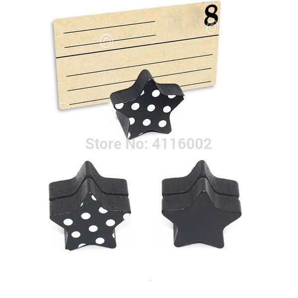 500pcs Creative Wooden Star Place Card Holder / Photo Clip Holder DIY Memo Clips Wedding Table Decoration Favors