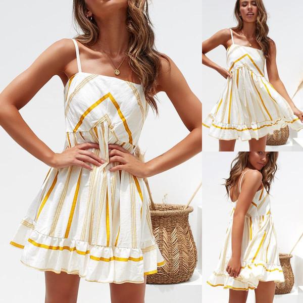 Vestidos de fiesta de noche de club de correa de espagueti sexy de verano para mujer Mini vestido de playa sin mangas a rayas de Boho