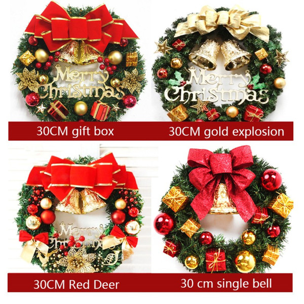 30cm Christmas Tinsel Wreath Luxury Xmas Door Wall Decoration Red Silver Gold