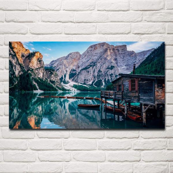bella natura scenico pragser wildsee lago italia europa living room arredamento casa parete arte decor struttura in legno tessuto poster KG883