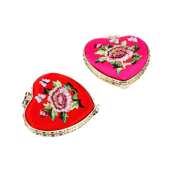 Portable Women Lady Fashion Heart Shaped Flower Knitting Embroidery Pocket Makeup Mirror Cosmetic Tool Accessories
