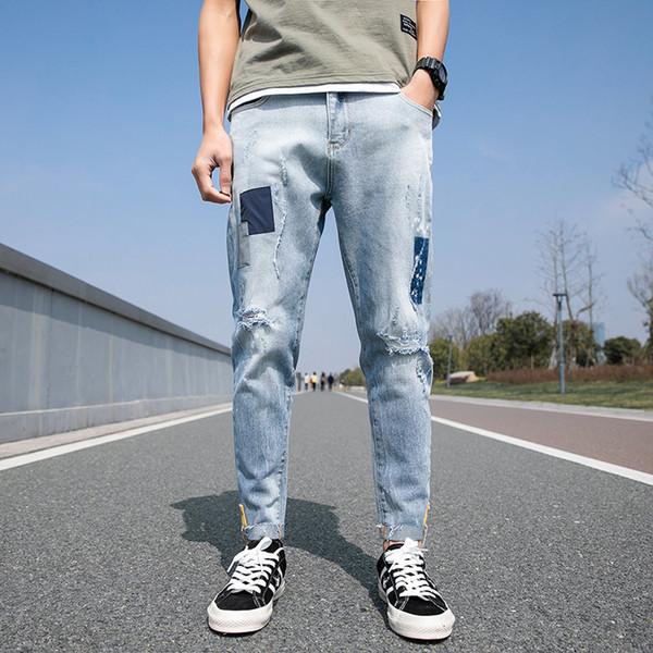 Spring New Jeans Men Fashion Wash Tearing Denim Pants Man Streetwear Hip Hop Loose Cowboy Trousers Trendy Wild Male Clothes