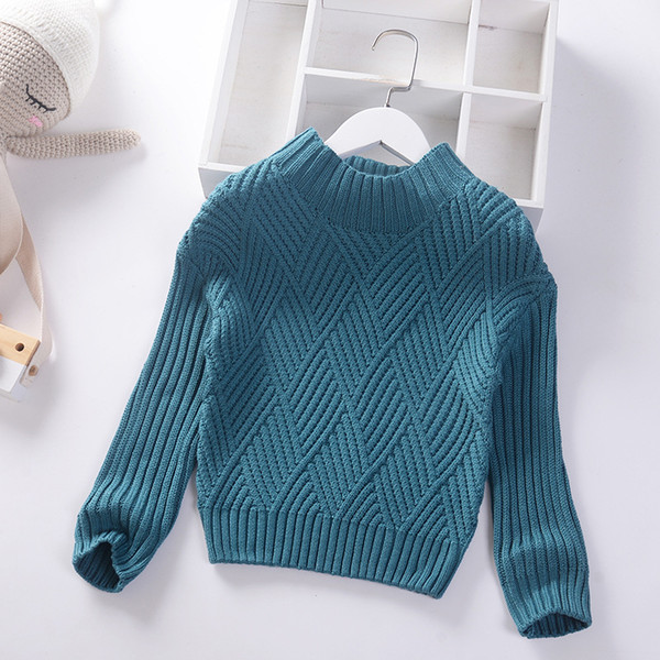 best selling 2020 Autumn Winter New Boys Girls Sweater Fashion Baby Knitted Pullover Solid Kids Clothes High collar Children Thick Jumper Sweaters