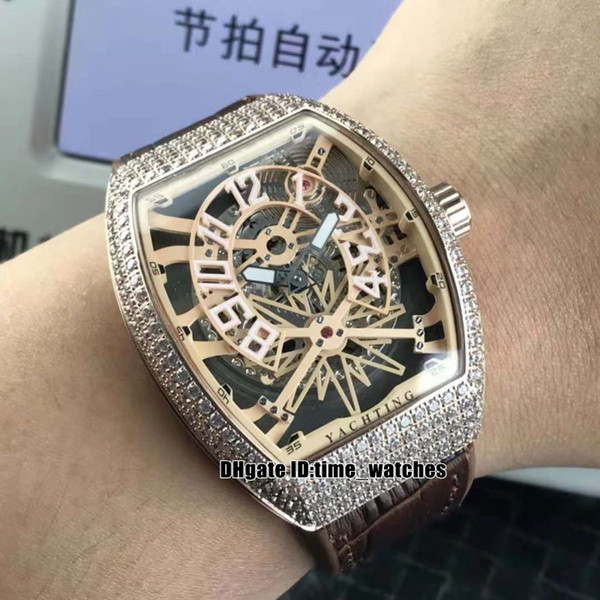 Men's Collection V45 SC DT Yachting Automatic mens watch Diamond bezel Rose gold case leather/rubber strap high quality Gents sport watches