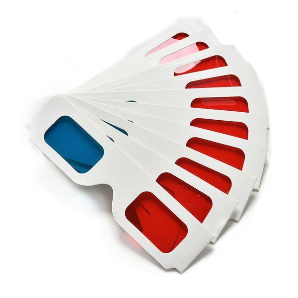 Hfes Hot 100 Pairs Universal papel anaglifo 3d gafas Papel 3d gafas Ver anaglifo rojo cian rojo / azul 3d vidrio para película Ef T190628
