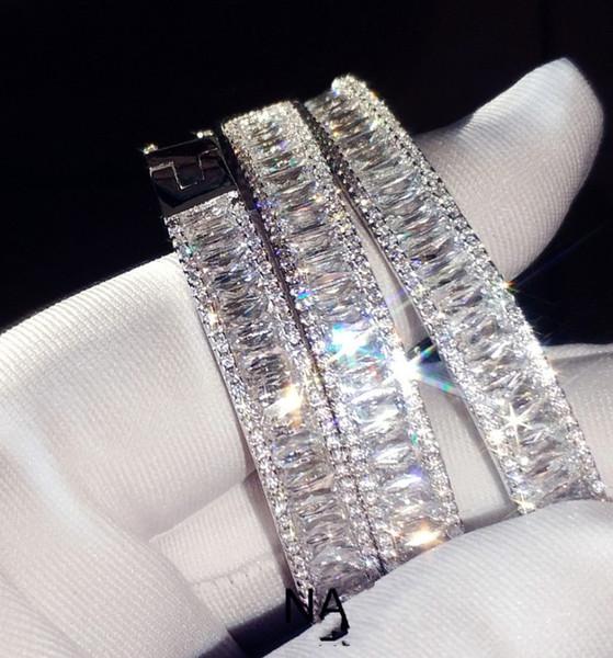 2019 Brand New Luxury Jewelry 925 Sterling Silver Princess Cut White Topaz CZ Diamond Gemstones Wedding Bangle Women Wrist Bracelet Gift