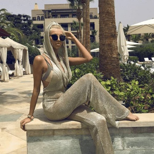 Sexy Lurex Jumpsuit Backless With Hoodies Elegant Evening Formal Dresses 2019 Special Occasion Dress Prom Dresses Real Picture In Stocks