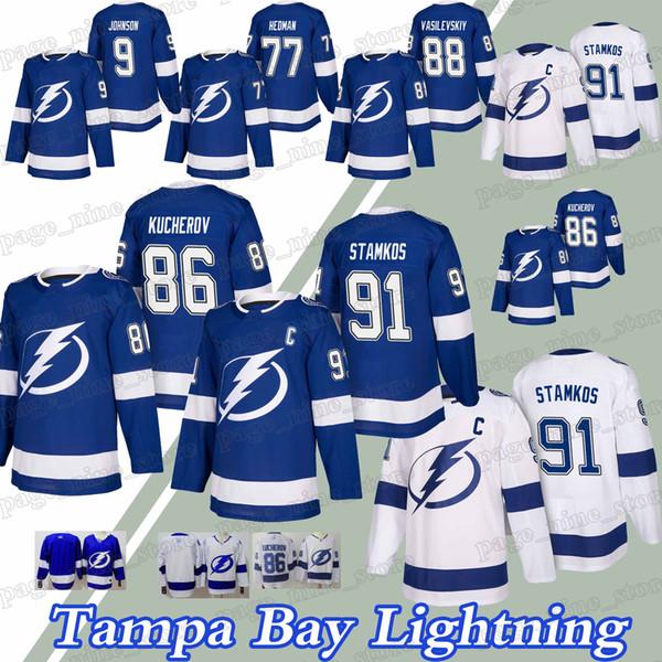 Tampa Bay Lightning Trikots 91 Steven Stamkos 86 Nikita Kucherov 77 Victor Hedman 88 Andrei Vasilevskiy Trikot