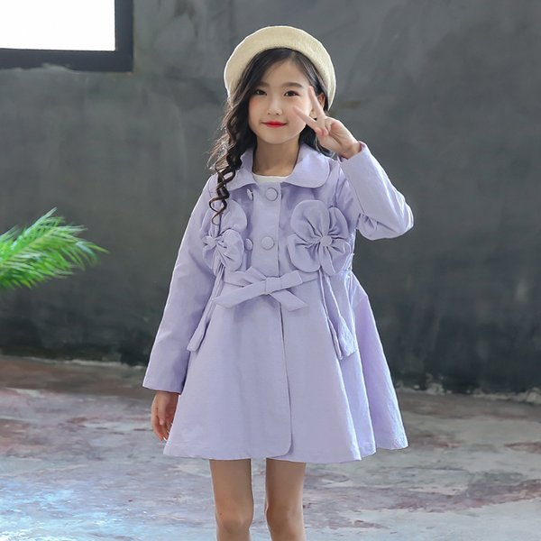 2018 Fashion Autumn Baby Girls Trench Tops Coats Cotton Single Breasted Kid Girl Lavender Long Outerwear Children Clothes 3th018