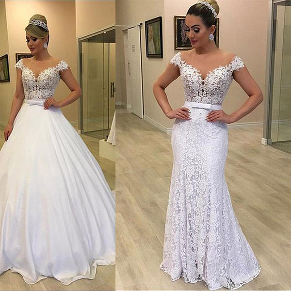 Modest Mermaid Lace Wedding Dresses With Detachable Train Pearls Wedding Gowns Vestido De Noiva Bow Tie Belt Satin Bridal Dress