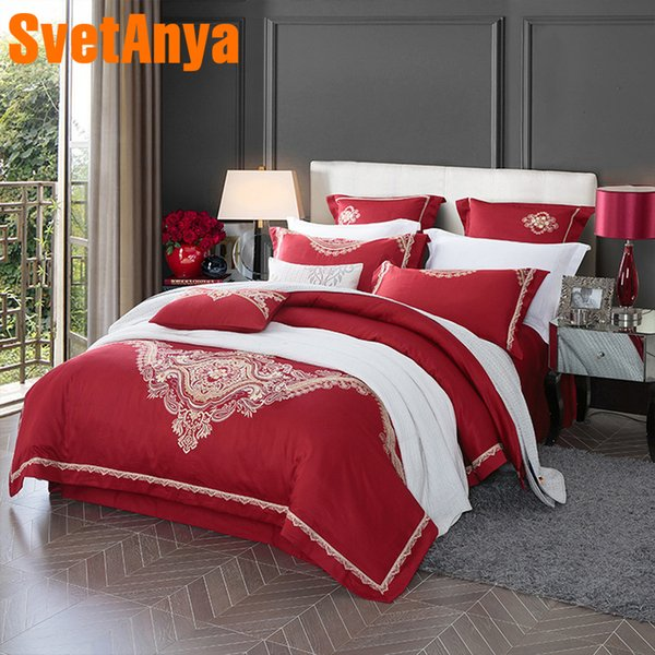 Svetanya embroidered Bedding Sets Queen Double King size Bed Linens (flat sheet + Pillowcase + Duvet Cover) red Egyptian Cotton