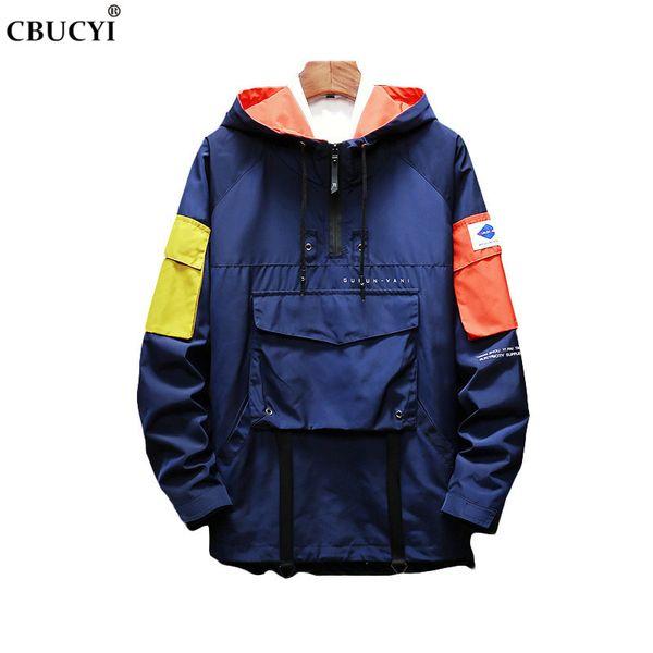 2019 Япония Harajuku multi-карман половина zip ветровка куртка весна мода повседневная хип-хоп улица большой карман ветрозащитный куртка