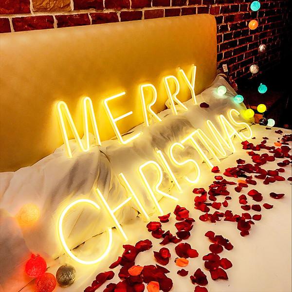 Moda diy llevó la luz de neón luz de la fiesta de navidad del partido de navidad decoraciones de la boda lámpara de noche bar decoración de la pared 26 letras números