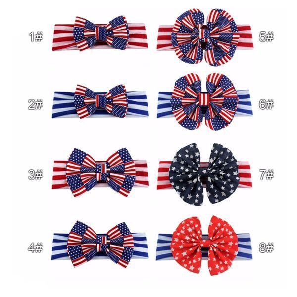 Neonate 4 luglio fascia della bandiera americana dei capelli dei capelli della fascia dell'arco 8 colori bambini Accessori per capelli per il partito