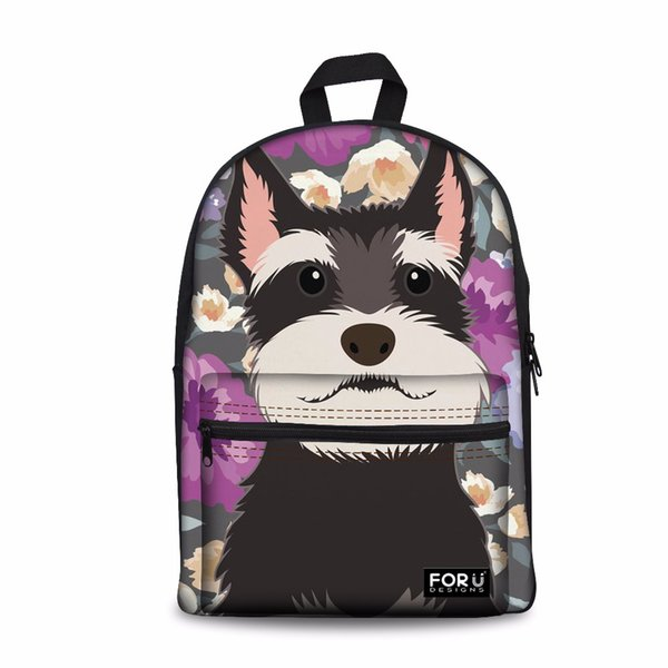 Customized Children Backpack School Bags High Quality Pack for Teenagers Girls Kids Book Bag Schnauzer Flower Pattern Schoolbag