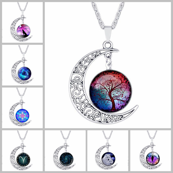 top popular 84 Design cabochons Glass Moon necklaces For Women Men Tree of Life Zodiac Sign flower Wolf nebula Space Galaxy Pendant chains Jewelry 2019