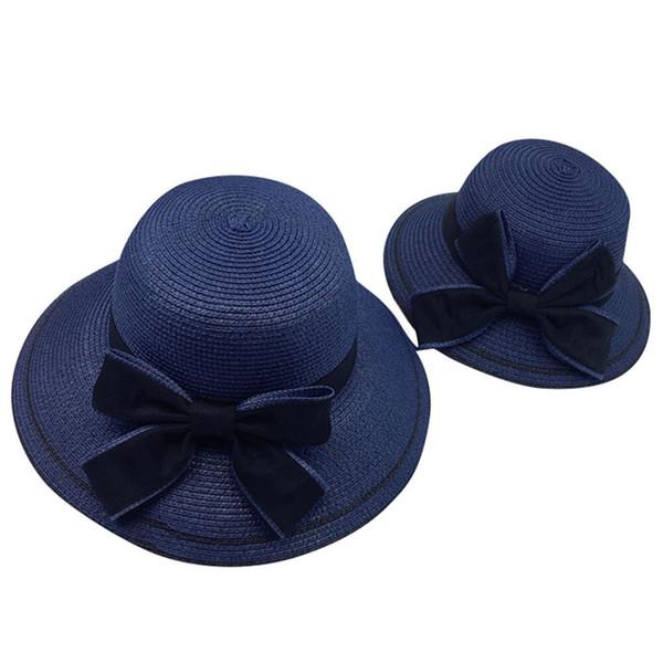 New Women Summer Parent-child Women Casual Daily Baby Kids Girl Beach Bow Straw Flat Brim Sun Hat Cap #4F09