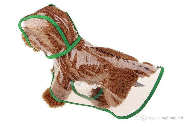 Собака Одежда Водонепроницаемая Малые собаки любимчика Плащи Водонепроницаемая куртка с капюшоном Pet дождя пальто Одежда Прозрачное собак Pet дождевики Размер XS / S / M / L / XL