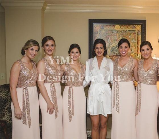 Rose Gold Mermaid Brautjungfernkleider 2019 V-Ausschnitt bodenlangen Pailletten Chiffon Sash Plus Size Garden Beach Land Hochzeitsgast Kleider