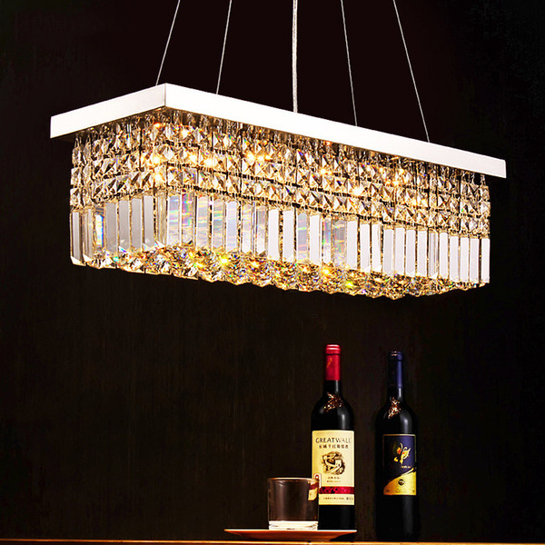 Stainless Steel Restaurant Crystal Chandelier Rectangular Hanging Line Personality Living Room Lamp Modern Crystal Ceiling Light Dining Room