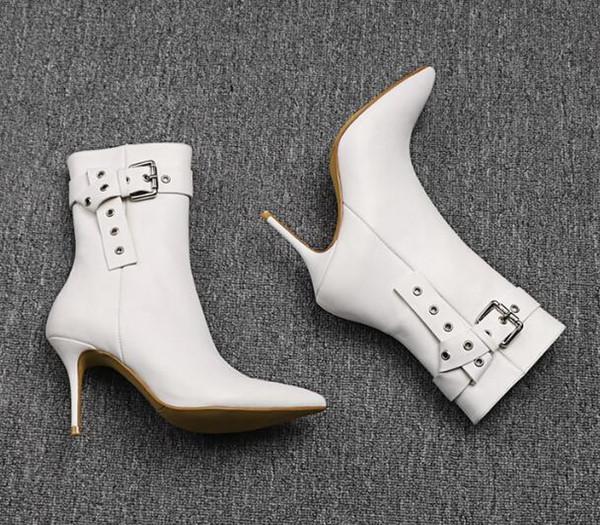 İlkbahar Sonbahar Ayakkabı Kadınlar beyaz Boots Ayak bileği Boots Kemer parti Ayakkabı Kadınlar olan kadınlar Temel Motosiklet Boots için Süper Yüksek Topuklar