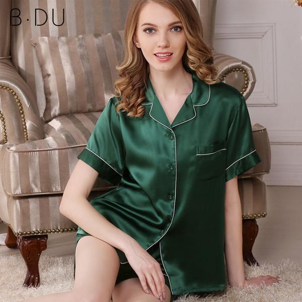 beautiful and charming hot-selling authentic distinctive design 2019 BDU Women 100%Silk Satin Pajamas Pyjamas Set Short Sleeve Sleepwear  Spring Suit Female Sets Loungewear Plus Size From Mudanflower, $123.12   ...