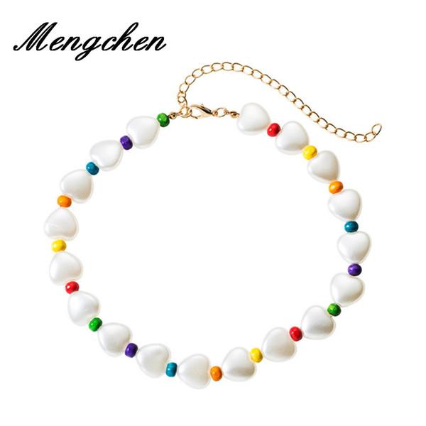 Böhmische neue Entwurfs-Herz-geformte bunte Naturstein-handgemachte perlenbesetzte Halskette für die Frauen, die Halsketten-Geschenke Wedding sind