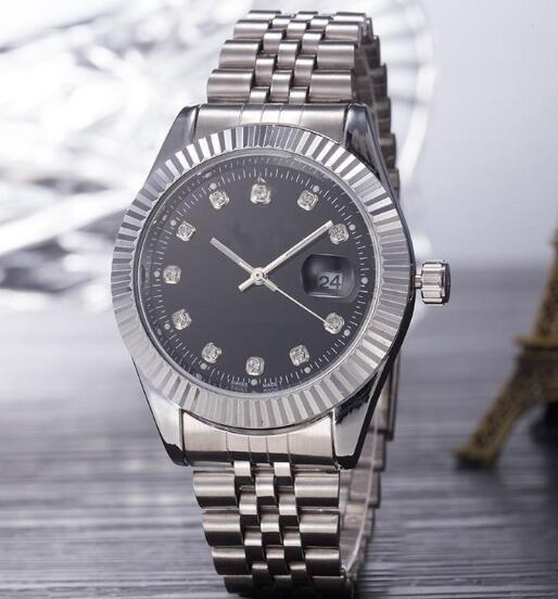 Top Selling Brand Men Watch Silver Stainless Steel Black Dial Wristwatch Male Quartz Watches Double Calendar Wrist watch