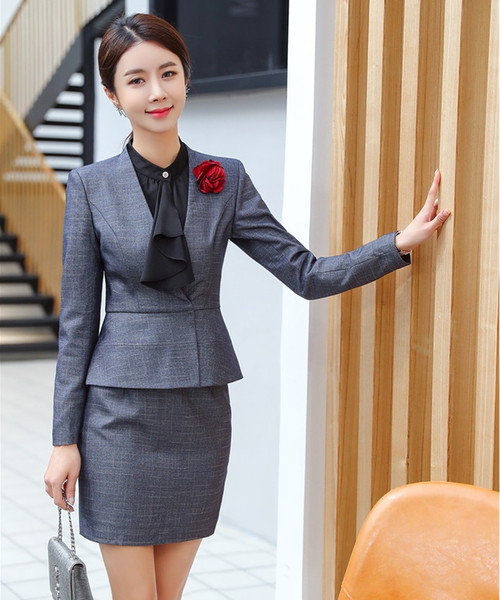 Moda para mujer Blazer gris Mujeres trajes de negocios con falda y conjuntos de chaqueta Ropa de trabajo Estilos de uniformes de oficina de alta calidad