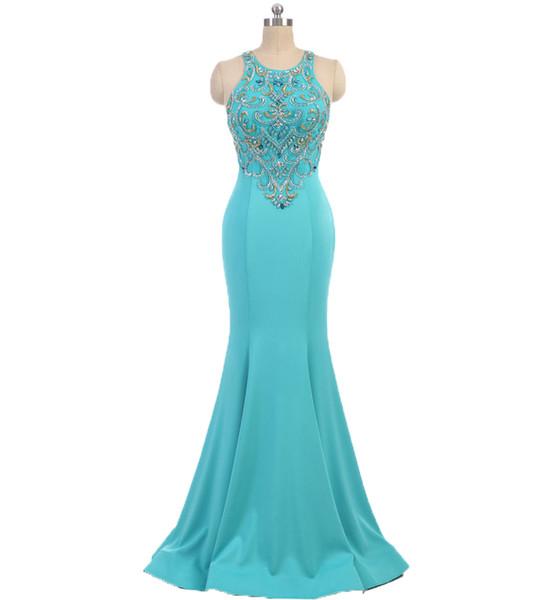 Luxury Aqua Blue Evening Dresses Jewel Neck Sleeveless Mermaid Beaded Formal Celebrities Prom Cocktail Party Dress robes de soirée