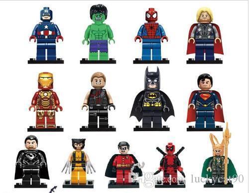 9 шт / много Minifigure Супер Герои The Avengers Iron Man Hulk Бэтмен Росомаха Thor строительных блоков Наборы Мини фигуры DIY кирпича игрушка