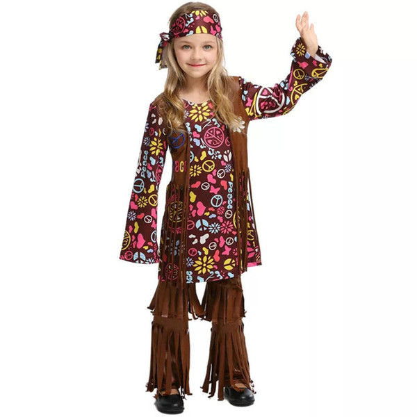 Halloween Costume Dress Child Indians Hippy Funny Clothes For Baby Toddler Kids Girls 60s 70s Vintage Hippie Fringe Floral Cosply 3 Person Costume Big