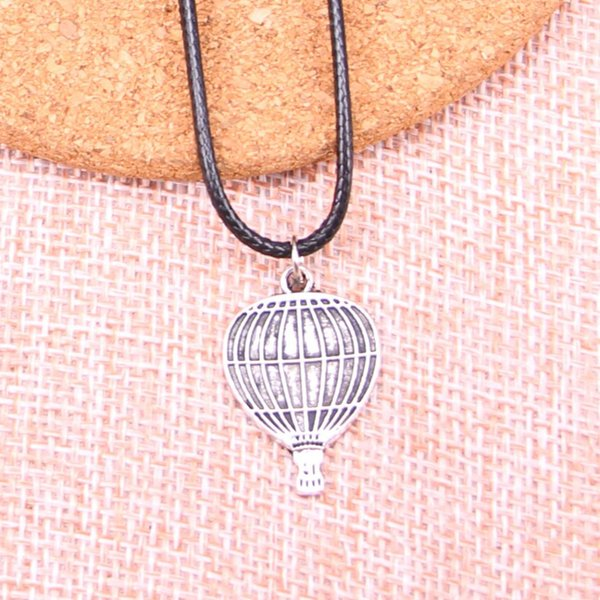 20Pcs Antique Silver Color hot air balloon Pendant 24*16mm Leather Chain Necklace Black Leather Cord Necklace