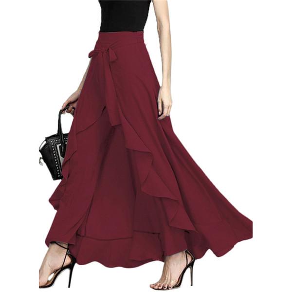 Kadın Sonbahar Fırfır Patchwork Pantolon Moda Tasarımcısı Katı Gevşek Pantolon Sashes Kadınlar ile Rahat Rahat Giyim
