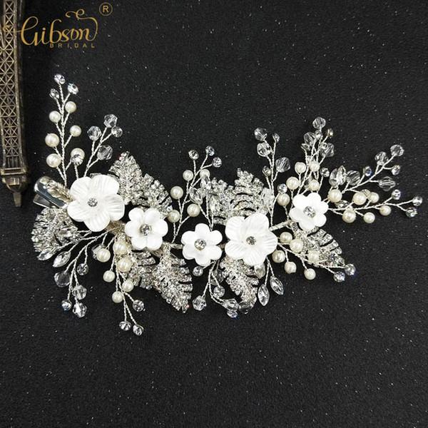 Women Fashion Accessories Barrette Leaf With Rhinestone Headpiece For Bridal Wedding Flower Hair Clip Jewelry