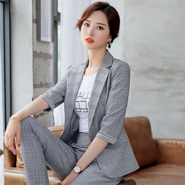 Summer New Style Gray Plaid women suits with Pants and Coat Slim Business ensemble femme 2 pieces pantalon Office Wear